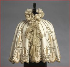 Emile Pingat, White Duvetyn Cape Trimmed with Gold Applique, French, c. 1895.