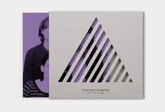 album cover, cd, music, recording, paper, cardboard, cutout, triangle, lines, geometric, purple, duotone, packaging, my bloody valentine