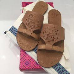 Brand New With Tags Tory Burch sandals size 7.5 NWT brand new sandals in Natural Sand size 7.5. They run true to size and the material is Napa leather, which is extremely comfortable, fits a size 7.5 and might fit a size 8. Available with dust bag, paper, and original box. It was received as a gift but they are the wrong size, the item is sold out, so I decided to sell instead of look for another pair. Price is firm, no discounts, no Trades and the price is firm! Tory Burch Shoes Sandals