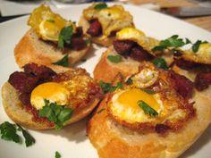 Quail eggs and chorizo..