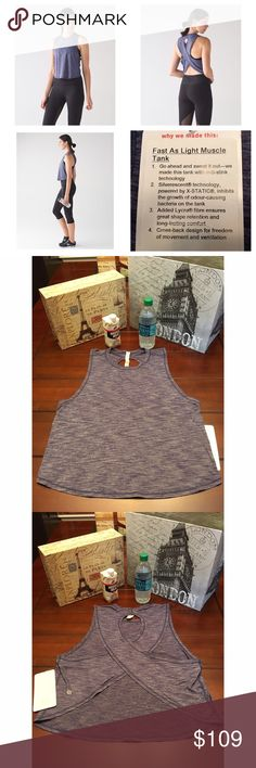 Lululemon Fast as Light Tank -Blue, Size 12 Lululemon Fast as Light Muscle Tank -Heathered Blue, Size 12  Super cute and brand new with tags!!☺ In heathered blue, which is a bluish-purple color. lululemon athletica Tops Tank Tops