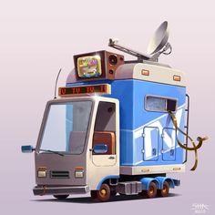 """""""TV News"""" vehicle, Anton Sh on ArtStation at https://www.artstation.com/artwork/V023g"""