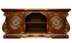 This intricately hand carved tv media cabinet was made with reclaimed woods and antiqued to give this charming Tuscan media cabinet the warmth and craftsmanship of the old world. Koenig Collection works closely with the factory in Lima, Peru to assure you the highest quality raw materials are used in the production of all our furniture and home accessories. See more at a local Houston showroom!