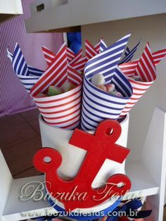 New baby shower ideas centros de mesa para varon Ideas Sailor Birthday, Sailor Party, Shower Party, Baby Shower Parties, Baby Boy Shower, Baby Shower Marinero, Nautical Party, Party Themes, New Baby Products