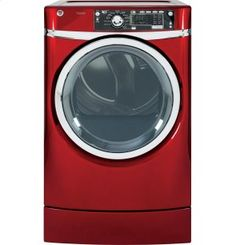 GFDR485EFRR in Ruby Red by GE Appliances in Westwood, NJ - GE® 8.3 cu. ft. capacity RightHeight Design Front Load electric dryer with steam