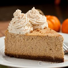 New York Style Pumpkin Cheesecake.  High, dense, rich, smooth, creamy.  (Move over, Cheesecake Factory!)  Favorite thing on the holiday dessert table!