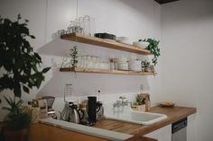 kinfolk rustic modern kitchen office west elm open shelving natural materials