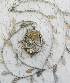 Owl. Abalone. Pendant. Hanging Leaves. Silver tone. Jewelry Necklace. by ObscuredOdditiess on Etsy