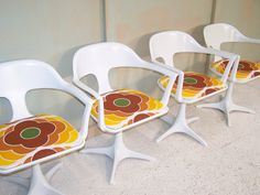 Vintage 1972 EMU swivel space age dining or desk chairs recovered seats in retro vintage fabric
