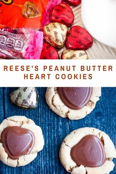 Soft and Chewy Reese's Peanut Butter Cup Heart Cookies for Valentine's Day! Like a Peanut Butter Blossom with a Reese's Heart in the middle. The softest BEST peanut butters make these cookies number one ALREADY then you add a Peanut Butter Reeses Cookies, Chocolate Chip Shortbread Cookies, Toffee Cookies, Spice Cookies, Heart Cookies, Yummy Cookies, Reese's Cookies, Salted Caramel Mocha, Peanut Butter Blossoms
