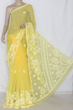 Deep Yellow Hand Embroidered Lucknowi Chikankari Saree (With Blouse - Georgette) 12716