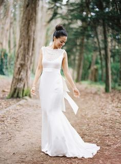 Stunning illusion neckline gown: http://www.stylemepretty.com/2014/07/10/classic-affair-in-san-francisco-with-a-modern-twist/ | Photography: Jose Villa - http://josevilla.com/