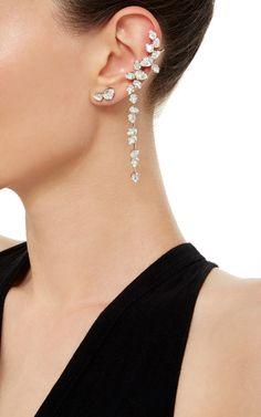 Rhodium Plated Swarovski Crystal Drop Ear Cuff with Stud - Ryan Storer Resort 2016 - Preorder now on Moda Operandi