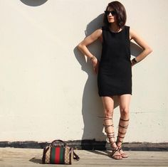 Pin for Later: 100 Easy Outfits to Try When You Truly Hate Your Closet An LBD With Gladiator Sandals