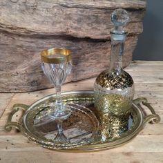 Vintage Σετ Κουμπάρου Δίσκος Καθρέφτη Ποτήρι Κρασιού Καράφα Στέφανα Γάμου