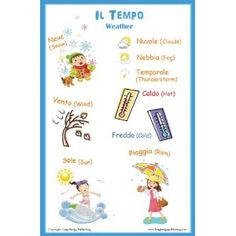 Italian Language Poster - Weather, Bilingual Chart for Classroom and Playroom (Office Product) http://www.amazon.com/dp/B0074EMDR8/?tag=wwwmoynulinfo-20 B0074EMDR8
