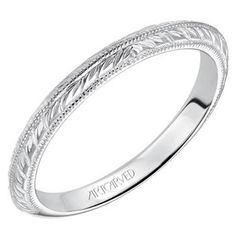 Artcarved Imani 14k White Gold Wedding Ring Featuring Knife Edge Engraved