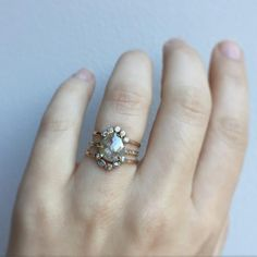 custom rose cut diamond engagement ring + wedding bands  ::  Alexis Russell