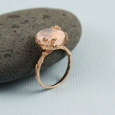 Pink Gold Oval Rose Quartz Ring - gemstone ring, tooriginal