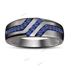 14K Black Gold Finish Round Sapphire Wedding Men's Band Ring Jewelry 1.20 Carat #tvsjewelery #WeddingBandRing #WeddingEngagementGiftParty