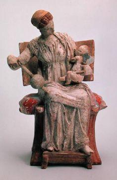 Aphrodite playing with Eros - Tanagra, Greece , 4th century BCE