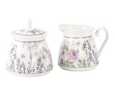 Set de azucarero y jarra de porcelana en caja regalo Regina
