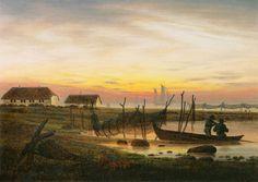 Bild: Caspar David Friedrich - Küstenlandschaft im Abendlicht.