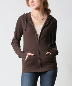 42POPS Chocolate Thermal Zip-Up Hoodie | zulily -  $13.29-$16.99 $45.00 size: size chart	  S $13.29 L $16.99 Product Description:  This chilly-weather basic features two pockets to keep hands warm and store essentials. Thermal fabric delivers all-day comfort.      54% cotton / 44% polyester / 2% spandex     Hand wash     Imported