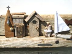 Driftwood arte Driftwood casas regalos por BlackCrowCurios en Etsy