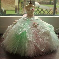 SOLD : Romantic fairytale 1/12th scale gown.