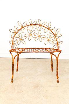 Iron Flower Bench by FoundDesignMiami on Etsy