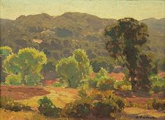 Hanson Puthuff (1875 - 1972). Afternoon Shadows.  Oil on canvas laid to board. 11.75 x 16.12 in