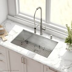 Kitchen Cabinets Kraus Pax™ Stainless Steel 16 Gauge x Undermount Kitchen Sink with Faucet Finish: Chrome - Steel Kitchen Sink, Single Bowl Kitchen Sink, Stainless Steel Kitchen, Kitchen Sinks, Kitchen Grey, Bathroom Faucets, Jacuzzi Bathroom, Charcoal Kitchen, Kitchen Tables