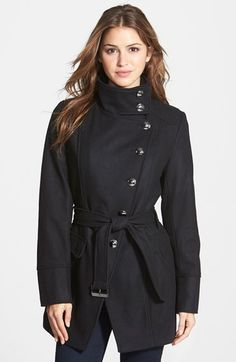 Kenneth Cole New York Belted Wool Blend Asymmetrical Military Coat available at #Nordstrom