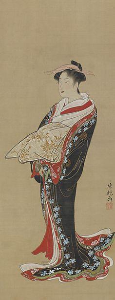Standing Courtesan Artist: Sakai Hōitsu (Japanese, 1761–1828) Period: Edo period (1615–1868) Date: ca. 1788 Culture: Japan Medium: Hanging scroll; ink, color, and gold on silk