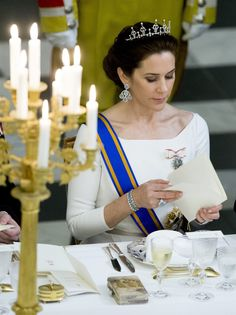 Crown Princess Mary of Denmark at the gala banquet at Christiansborg Palace, Copenhagen as part of King Willem-Alexander and Queen Maxima's state visit to Denmark on March 13, 2014