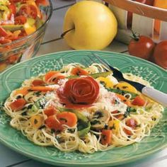 Angel Hair Pasta with Garden Vegetables:  4 servings; 1 servings (2 cups) equals 333 calories, 11 g fat; Diabetic Exchanges:  2 starch, 2 vegetable, 1-1/2 fat, 1 lean meat
