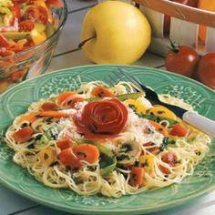 Pasta with garden vegetables