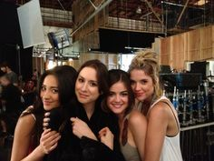 Shay Mitchell Mitchell, Troian Bellisario, Ashley Benson, and Lucy Hale on PLL Set <3   -Pretty Little Liars