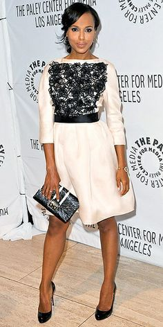 Kerry Washington in her lace-embellished ivory dress by Christian Dior, worn with matching accessories and Le Vian jewelry to a Beverly Hills Paley Center event for her show Scandal. Fashion Fail, Star Fashion, Womens Fashion, Fashion Trends, Fashion Outfits, Blake Lively, Sarah Jessica Parker, Jennifer Aniston, Looks Style