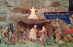 Vintage Christmas Manger Set Cardboard by BentleyandMurray on Etsy, $35.00