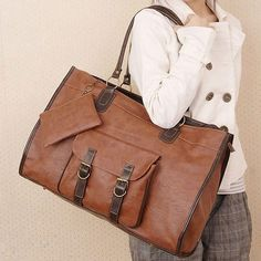 Fashion Free ship Women PU Leather Handbag Shoulders Bag Tote Browns Big