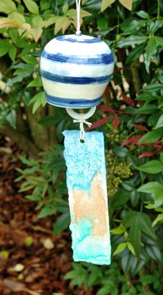 White and Blue Striped Japanese Fuurin Wind Chime by Fuurinkobo, $20.00
