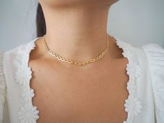 14k Gold Filled Modern Cable Chain Necklace / Real Gold   Etsy