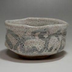 SHINO CHAWAN - Modern Japanese Crackle Glaze Pottery Tea Bowl #2135 - ChanoYu online shop