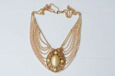 Gold Plated Metal Faux Pearl Chain Bib Necklace by CSvintageGems