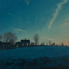 "Wow....the atmosphere created in this painting has such a sense of ""place"" -- I'm looking West and feeling the chill ! ~ Below Zero by Linden Frederick"