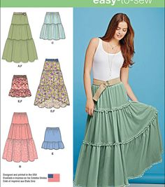 Sewing Skirts Simplicity Patterns - Simplicity Misses' Tiered Skirt With Length Variations - Xxs - Xs - S - Girl Dress Patterns, Skirt Patterns Sewing, Simplicity Sewing Patterns, Vintage Sewing Patterns, Clothing Patterns, Coat Patterns, Blouse Patterns, Skirt Sewing, Mccalls Patterns