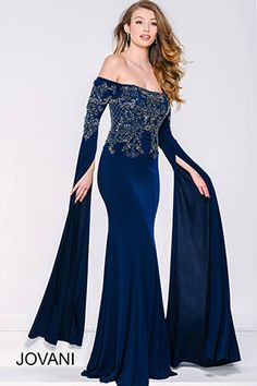 Navy Off the Shoulder Dress 39530 We work with every customer's budget! Style#: 39530-price$790.00  Available Color(s): Navy  Available Sizes: 00 To 24