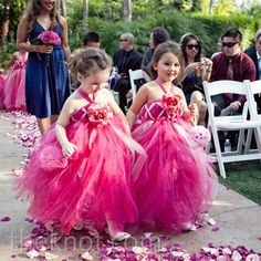 Real Weddings - A Colorful Tented Wedding in Fallbrook, CA - Pink Flower Girl Dresses